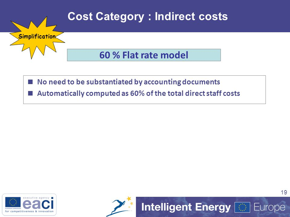 19 Cost Category : Indirect costs 60 % Flat rate model  No need to be substantiated by accounting documents  Automatically computed as 60% of the total direct staff costs Simplification