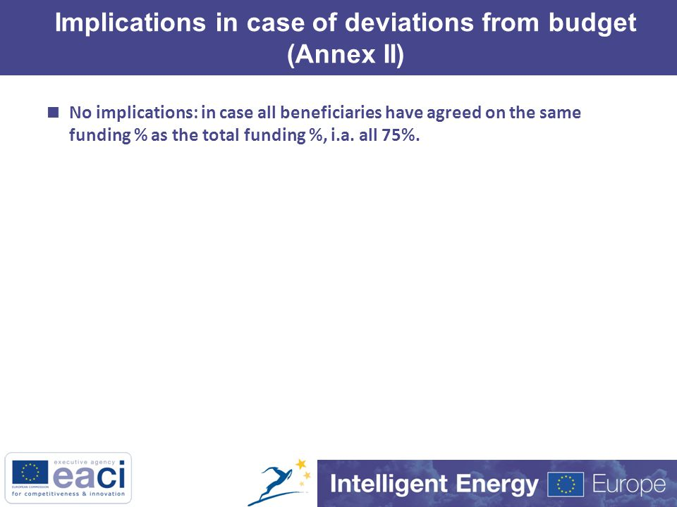 Implications in case of deviations from budget (Annex II)  No implications: in case all beneficiaries have agreed on the same funding % as the total funding %, i.a.