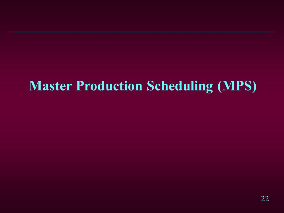 22 Master Production Scheduling (MPS)