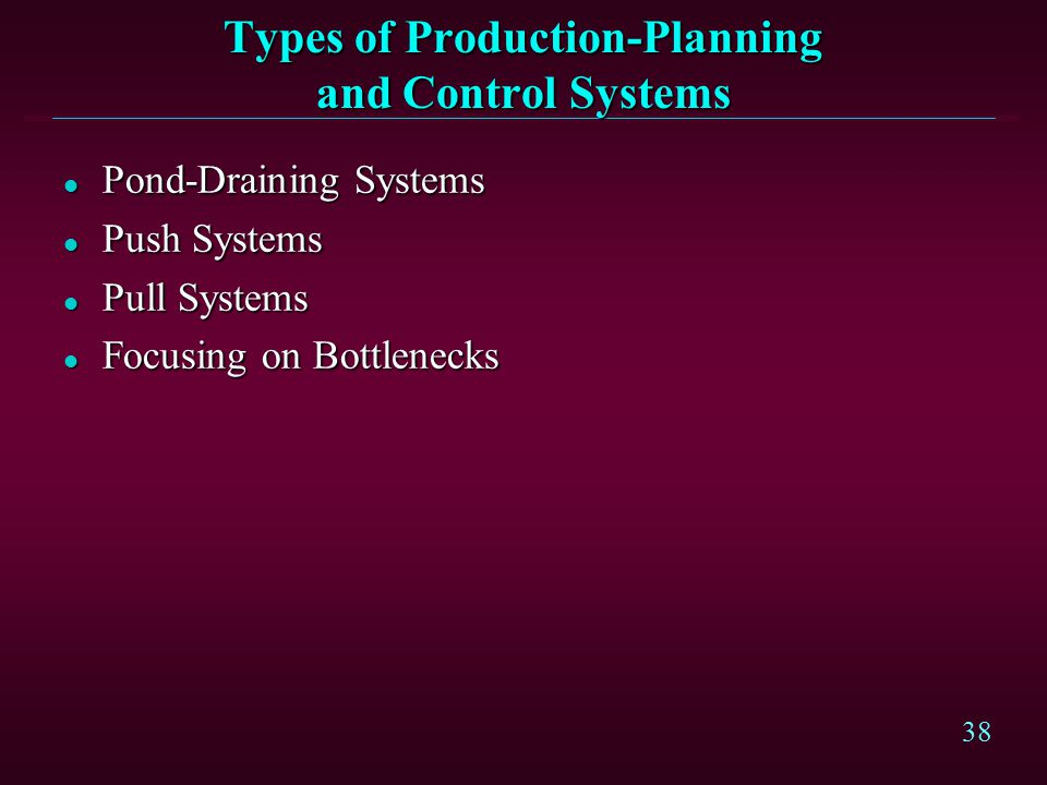 38 Types of Production-Planning and Control Systems l Pond-Draining Systems l Push Systems l Pull Systems l Focusing on Bottlenecks