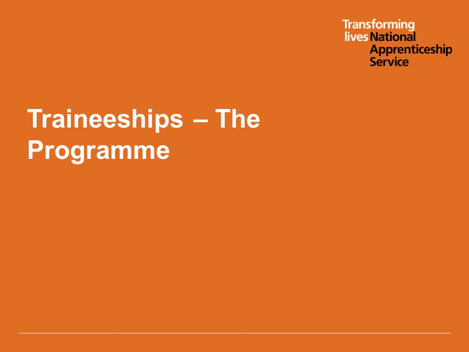 Traineeships – The Programme