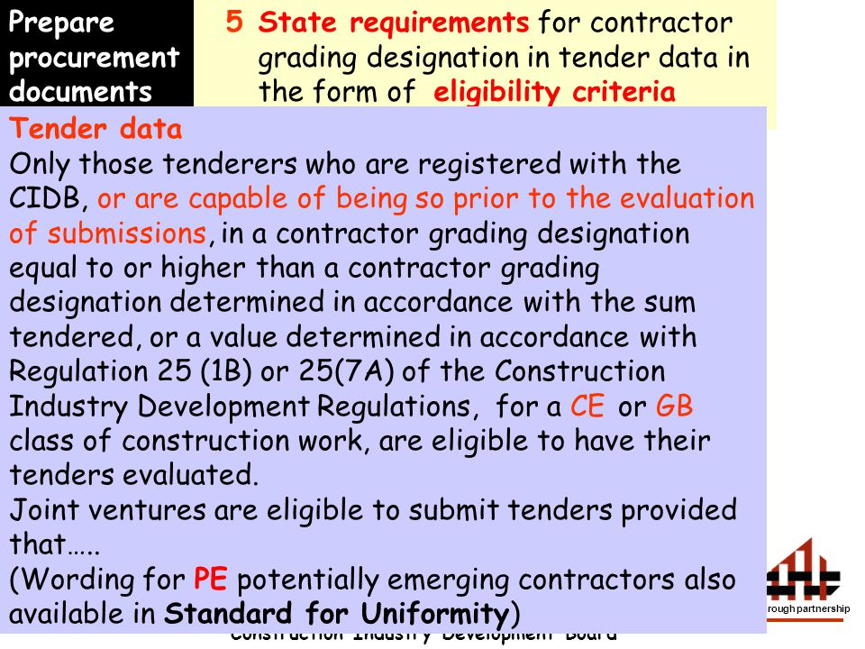 Construction Industry Development Board development through partnership 5State requirements for contractor grading designation in tender data in the f