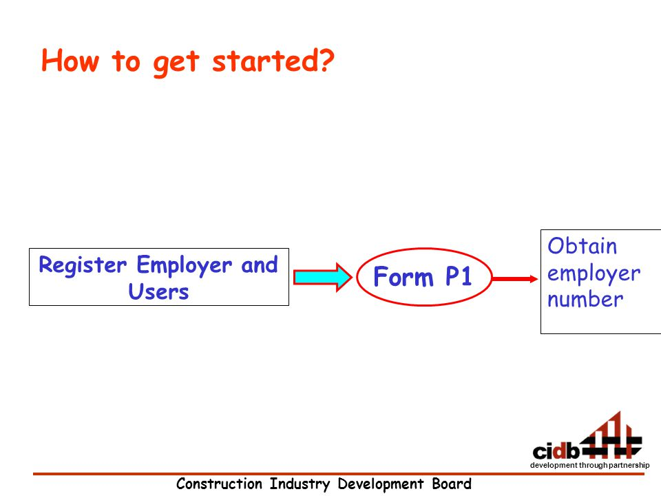 Construction Industry Development Board development through partnership Register Employer and Users Obtain employer number Form P1 How to get started?