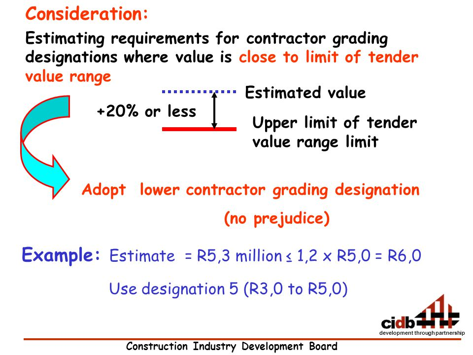 Construction Industry Development Board development through partnership Consideration: Estimating requirements for contractor grading designations whe