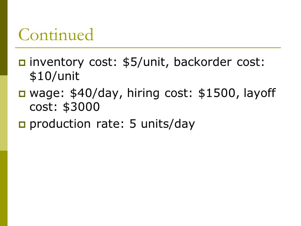 Continued  inventory cost: $5/unit, backorder cost: $10/unit  wage: $40/day, hiring cost: $1500, layoff cost: $3000  production rate: 5 units/day