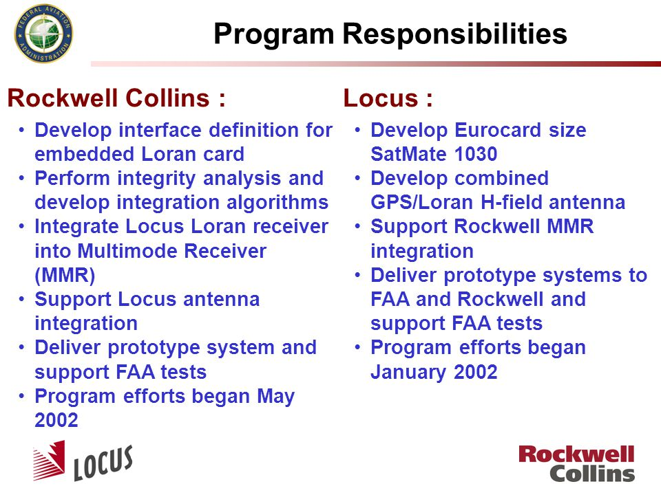 Develop Eurocard size SatMate 1030 Develop combined GPS/Loran H-field antenna Support Rockwell MMR integration Deliver prototype systems to FAA and Rockwell and support FAA tests Program efforts began January 2002 Locus : Develop interface definition for embedded Loran card Perform integrity analysis and develop integration algorithms Integrate Locus Loran receiver into Multimode Receiver (MMR) Support Locus antenna integration Deliver prototype system and support FAA tests Program efforts began May 2002 Rockwell Collins : Program Responsibilities
