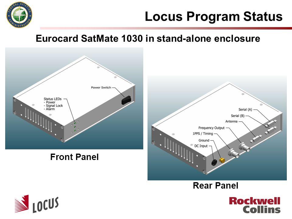 Locus Program Status Front Panel Rear Panel Eurocard SatMate 1030 in stand-alone enclosure