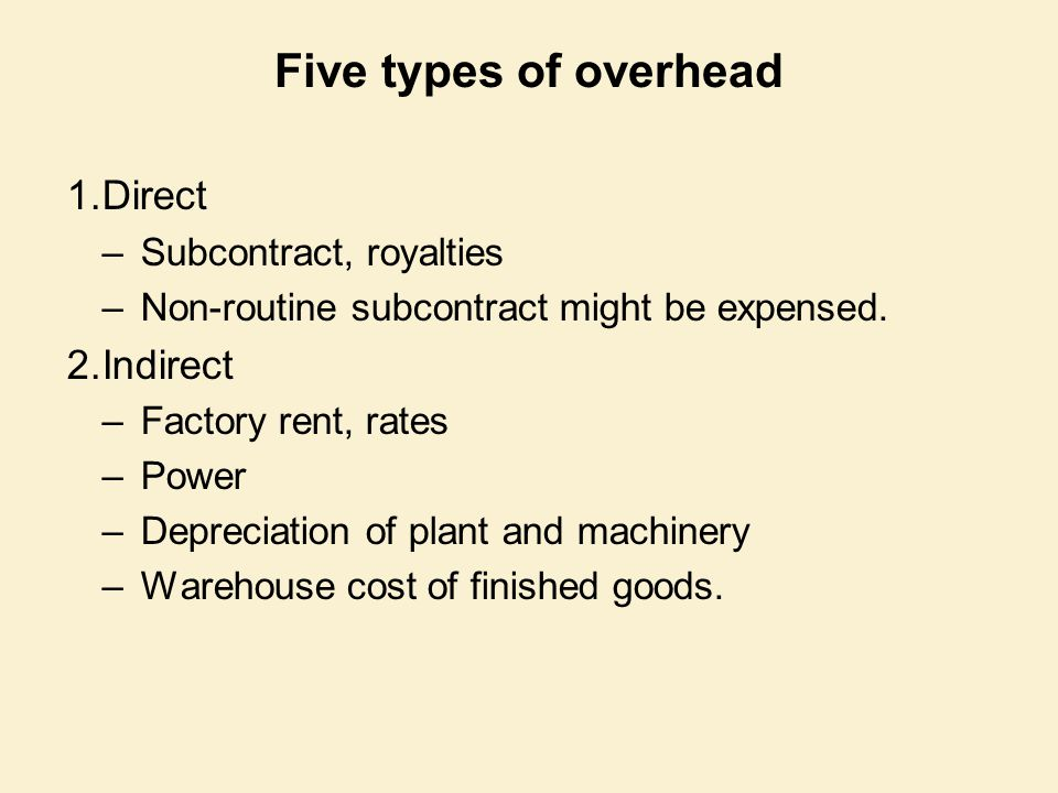 Five types of overhead 1.Direct –Subcontract, royalties –Non-routine subcontract might be expensed. 2.Indirect –Factory rent, rates –Power –Depreciati