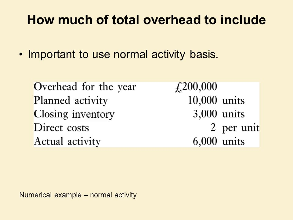 How much of total overhead to include Important to use normal activity basis. Numerical example – normal activity