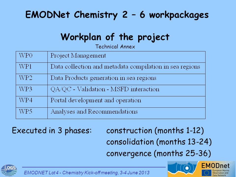 Workplan of the project Technical Annex Executed in 3 phases: construction (months 1-12) consolidation (months 13-24) convergence (months 25-36) EMODN
