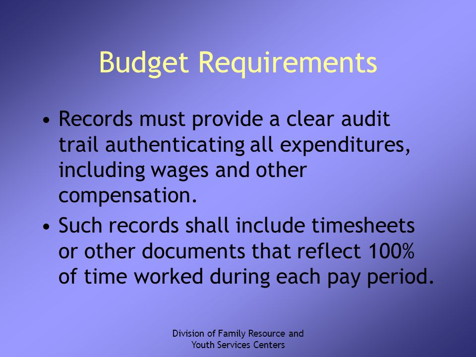 Division of Family Resource and Youth Services Centers Budget Requirements Records must provide a clear audit trail authenticating all expenditures, including wages and other compensation.