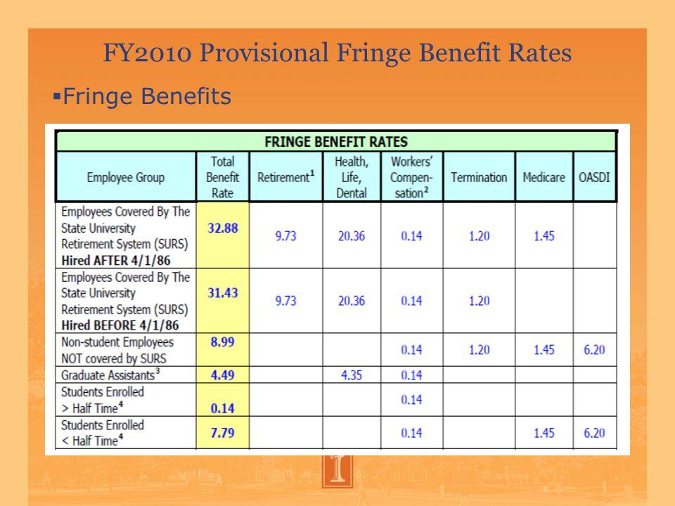 FY2010 Provisional Fringe Benefit Rates  Fringe Benefits