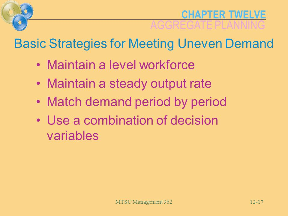 CHAPTER TWELVE AGGREGATE PLANNING MTSU Management 36212-17 Basic Strategies for Meeting Uneven Demand Maintain a level workforce Maintain a steady out