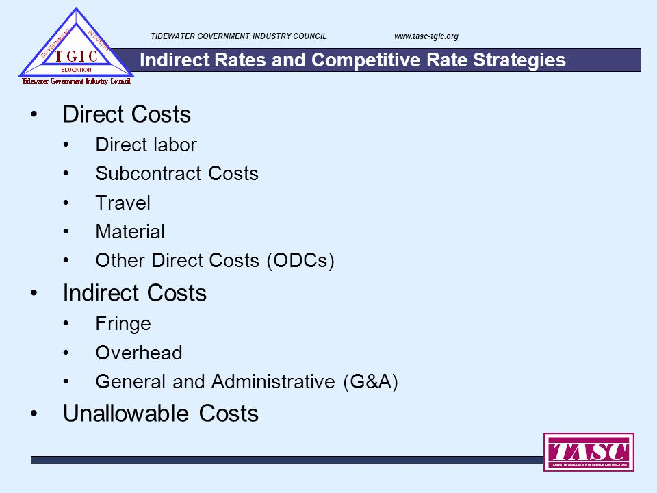 TIDEWATER GOVERNMENT INDUSTRY COUNCIL www.tasc-tgic.org Indirect Rates and Competitive Rate Strategies Direct Costs Direct labor Subcontract Costs Tra