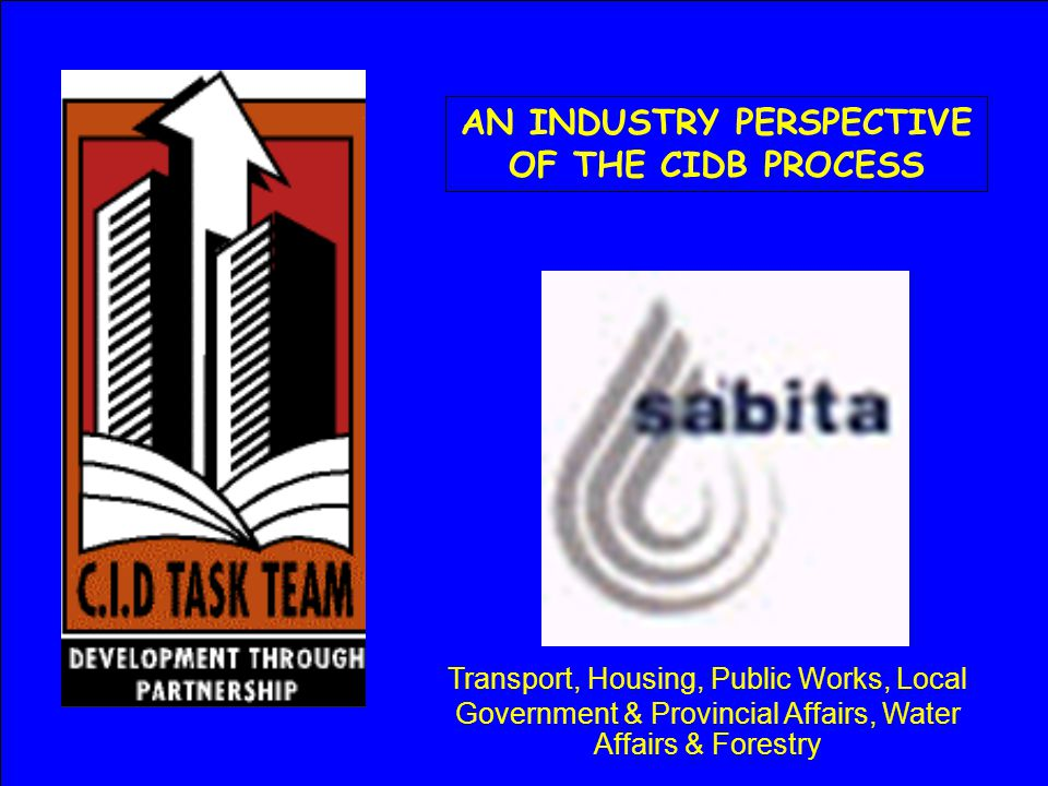 AN INDUSTRY PERSPECTIVE OF THE CIDB PROCESS Transport, Housing, Public Works, Local Government & Provincial Affairs, Water Affairs & Forestry