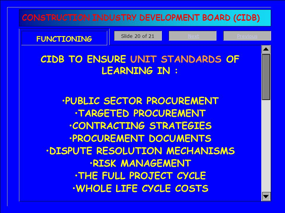 FUNCTIONING CIDB TO MONITOR DOCUMENT USAGE BY STATE ORGANS & PROBLEMS/DISPUTES THAT ARISE DPW GEOGRAPHICAL TARGETED PROCUREMENT MANAGEMENT SYSTEM TO T