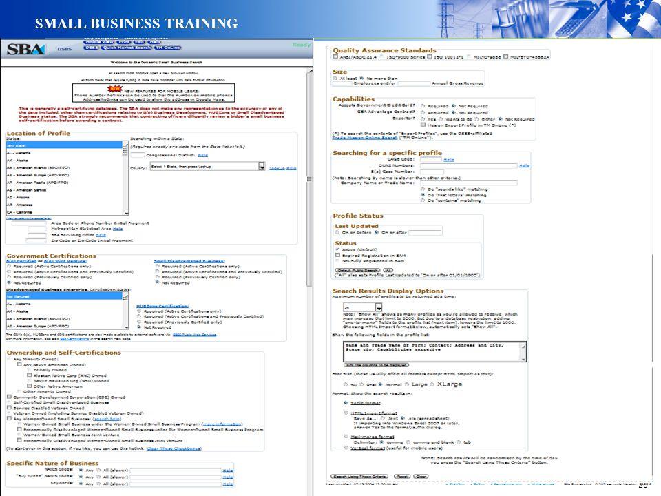 20 SMALL BUSINESS TRAINING