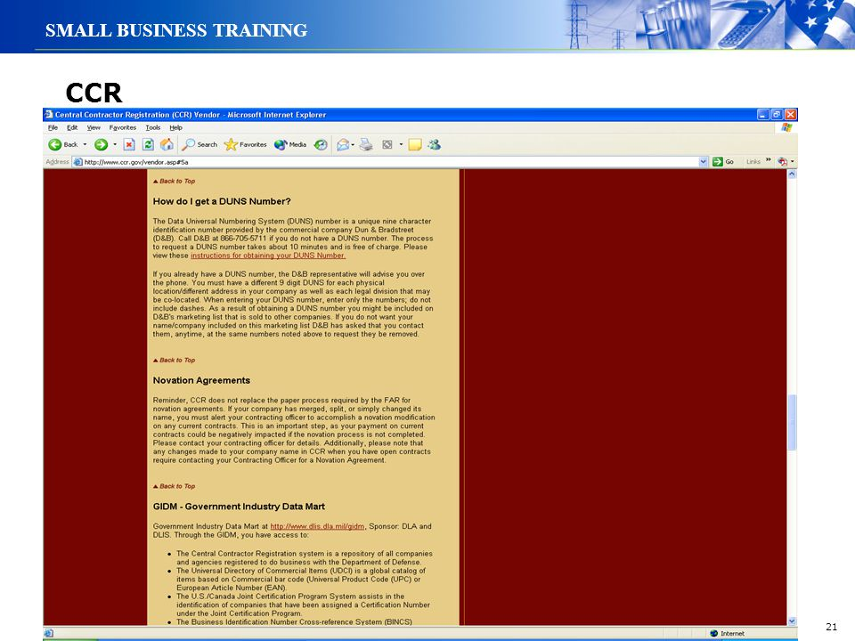 21 SMALL BUSINESS TRAINING CCR