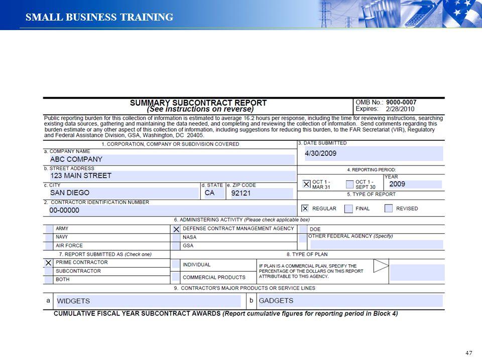 47 SMALL BUSINESS TRAINING