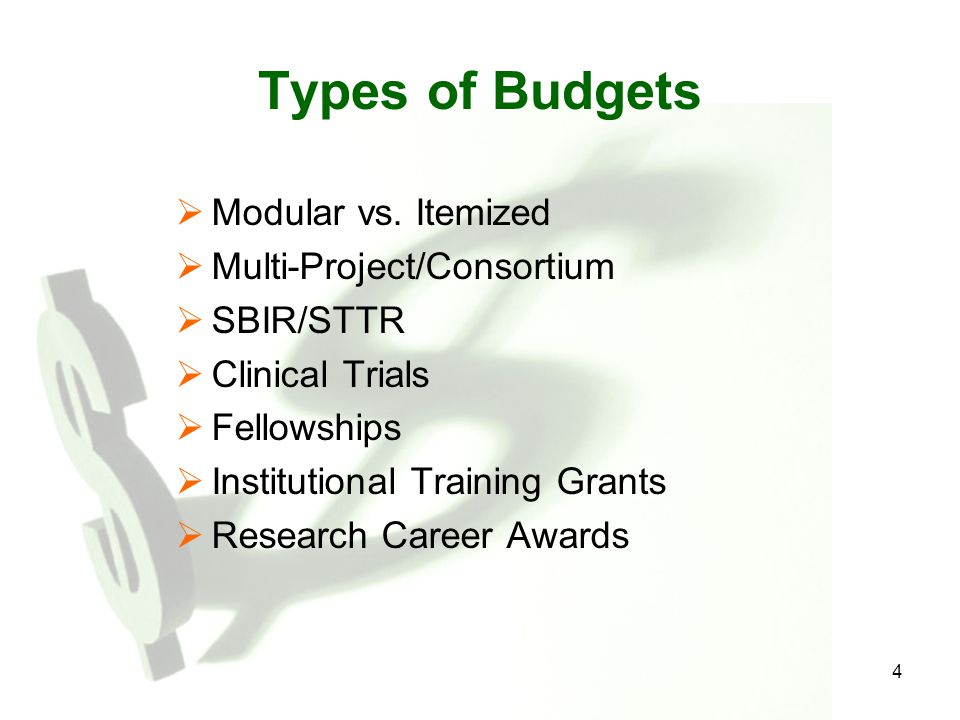4 Types of Budgets  Modular vs.