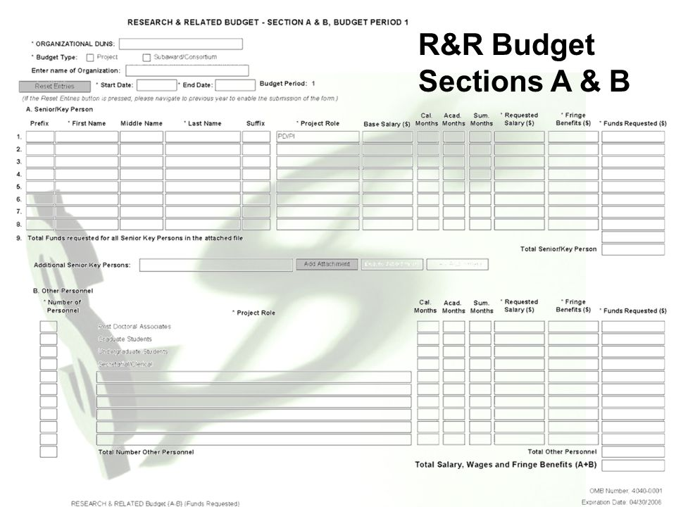 R&R Budget Sections A & B