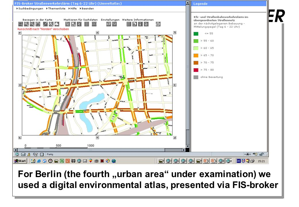 "WP 5: Surveys For Berlin (the fourth ""urban area under examination) we used a digital environmental atlas, presented via FIS-broker"