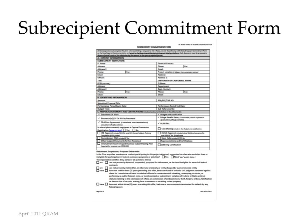 Subrecipient Commitment Form April 2011 QRAM