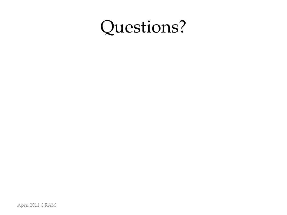 Questions? April 2011 QRAM