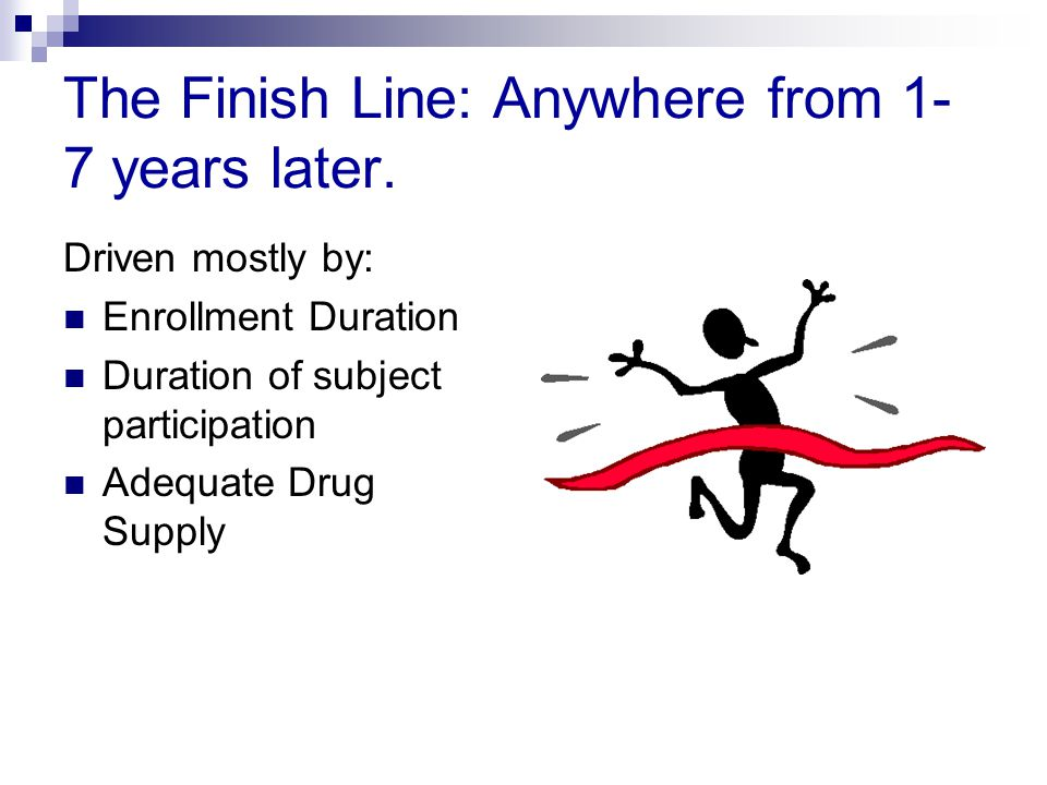 The Finish Line: Anywhere from 1- 7 years later. Driven mostly by: Enrollment Duration Duration of subject participation Adequate Drug Supply