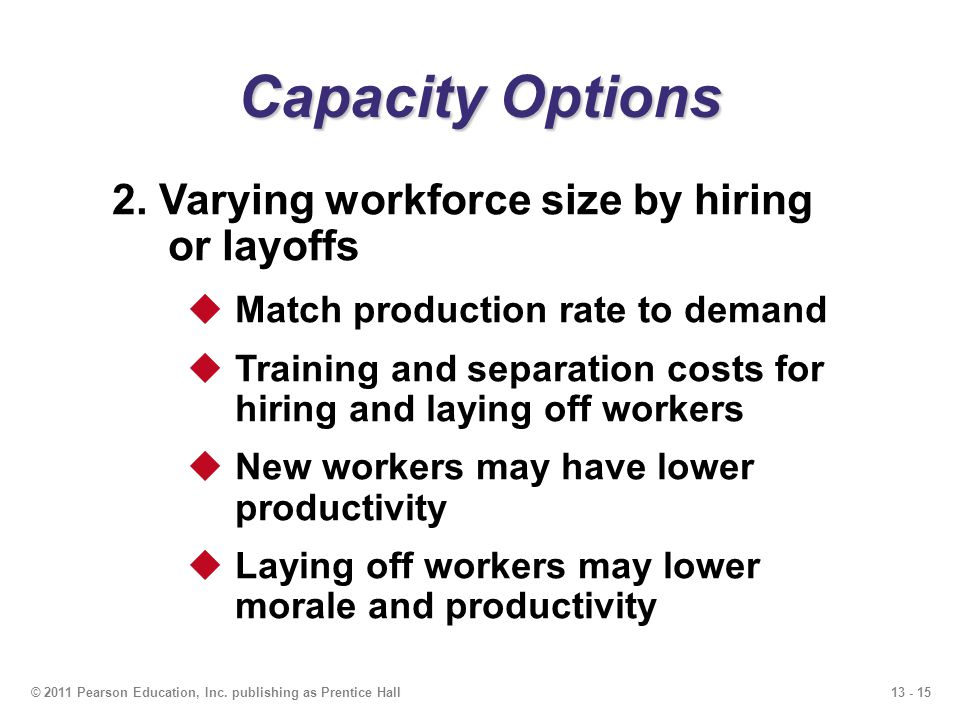 13 - 16© 2011 Pearson Education, Inc.publishing as Prentice Hall Capacity Options 3.