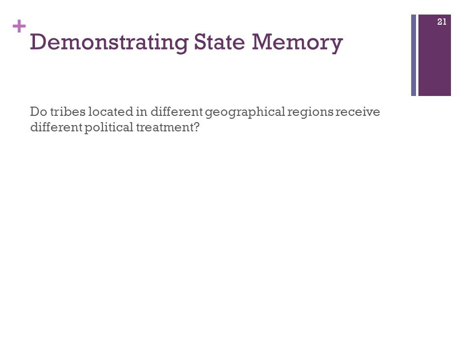 + Demonstrating State Memory Do tribes located in different geographical regions receive different political treatment.