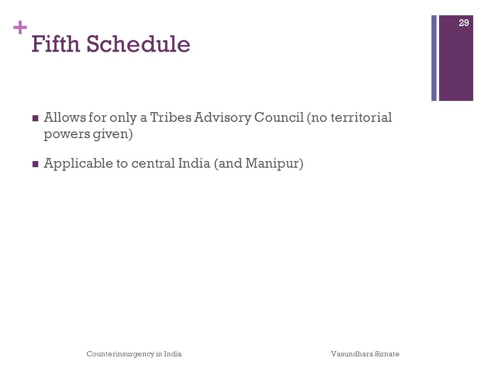 + Fifth Schedule Allows for only a Tribes Advisory Council (no territorial powers given) Applicable to central India (and Manipur) Counterinsurgency in IndiaVasundhara Sirnate 29