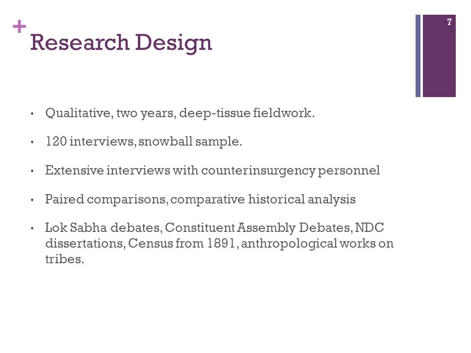 + Research Design Qualitative, two years, deep-tissue fieldwork.
