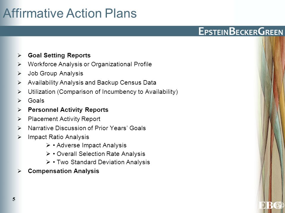 5 Affirmative Action Plans  Goal Setting Reports  Workforce Analysis or Organizational Profile  Job Group Analysis  Availability Analysis and Backup Census Data  Utilization (Comparison of Incumbency to Availability)  Goals  Personnel Activity Reports  Placement Activity Report  Narrative Discussion of Prior Years' Goals  Impact Ratio Analysis  Adverse Impact Analysis  Overall Selection Rate Analysis  Two Standard Deviation Analysis  Compensation Analysis