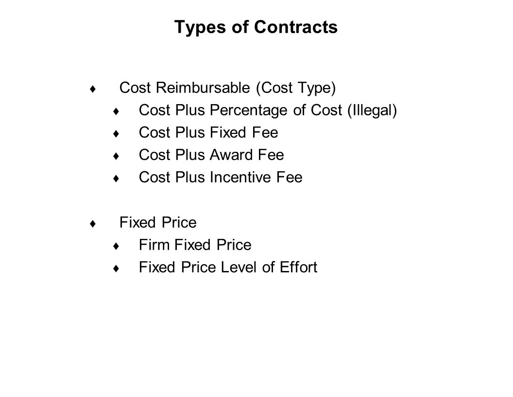 Capture Team Success Types of Contracts  Cost Reimbursable (Cost Type)  Cost Plus Percentage of Cost (Illegal)  Cost Plus Fixed Fee  Cost Plus Awa