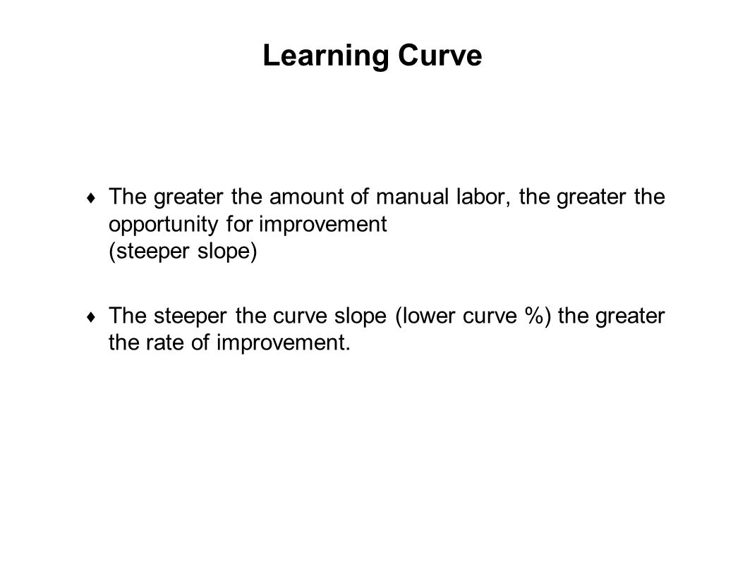 Capture Team Success Learning Curve  The greater the amount of manual labor, the greater the opportunity for improvement (steeper slope)  The steepe