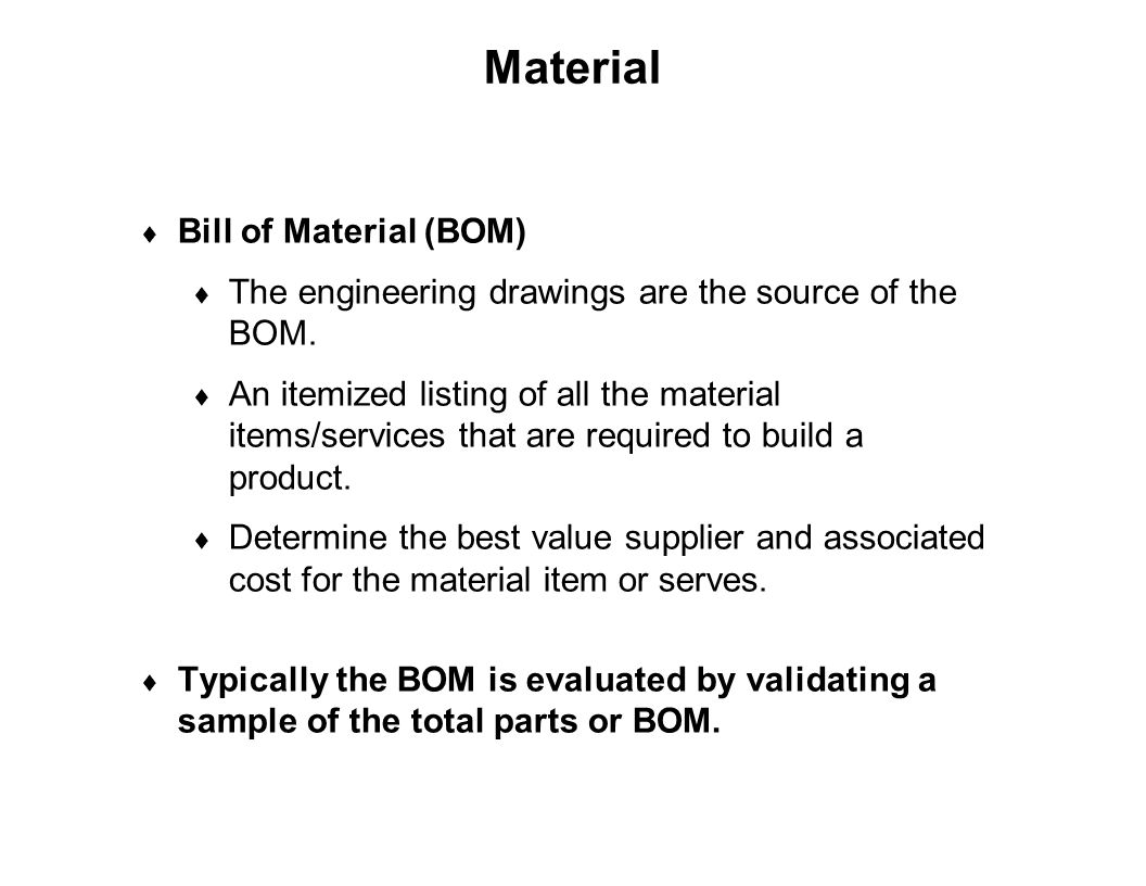 Capture Team Success Material  Bill of Material (BOM)  The engineering drawings are the source of the BOM.  An itemized listing of all the material
