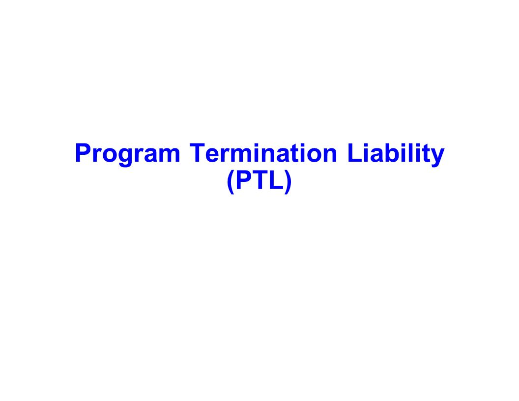 Capture Team Success Program Termination Liability (PTL)