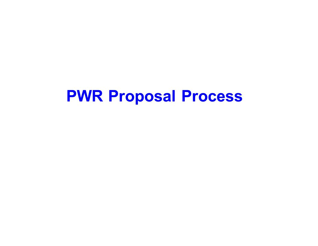 Capture Team Success PWR Proposal Process