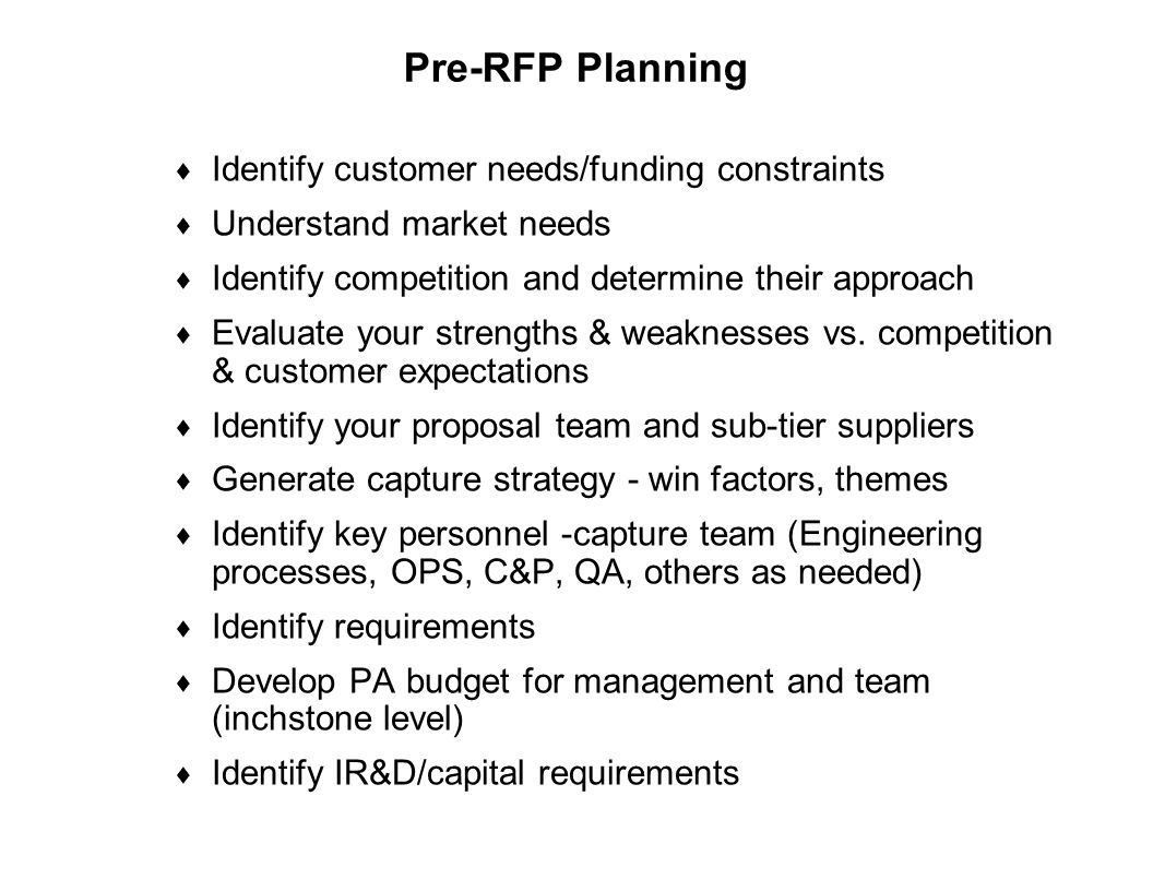 Capture Team Success Pre-RFP Planning  Identify customer needs/funding constraints  Understand market needs  Identify competition and determine the