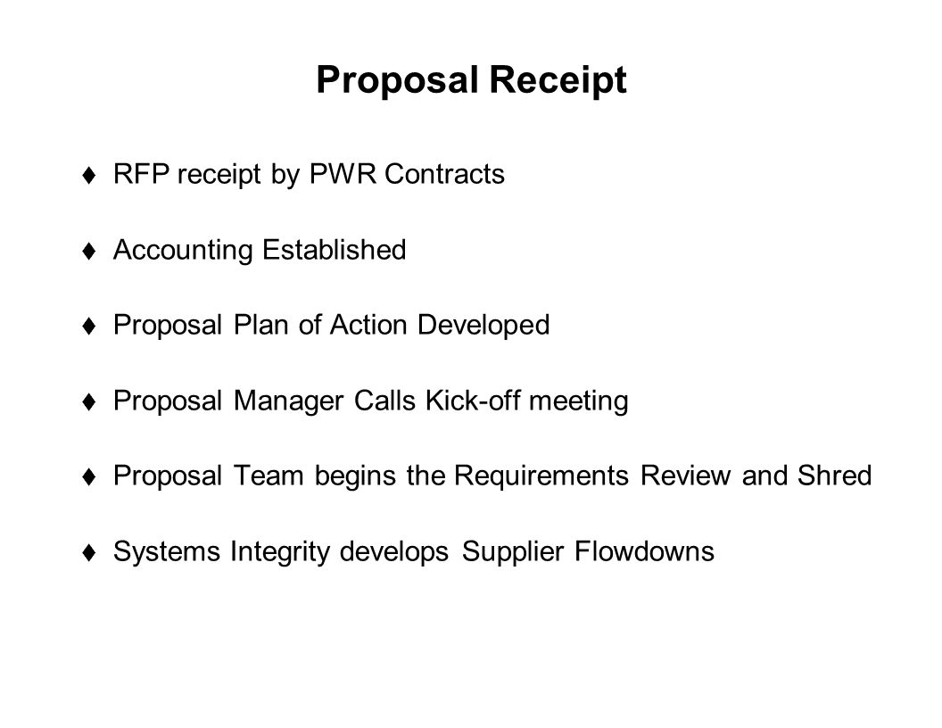 Capture Team Success Proposal Receipt  RFP receipt by PWR Contracts  Accounting Established  Proposal Plan of Action Developed  Proposal Manager C