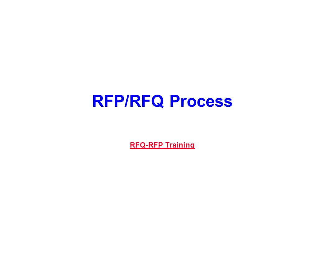 Capture Team Success RFP/RFQ Process RFQ-RFP Training RFQ-RFP Training