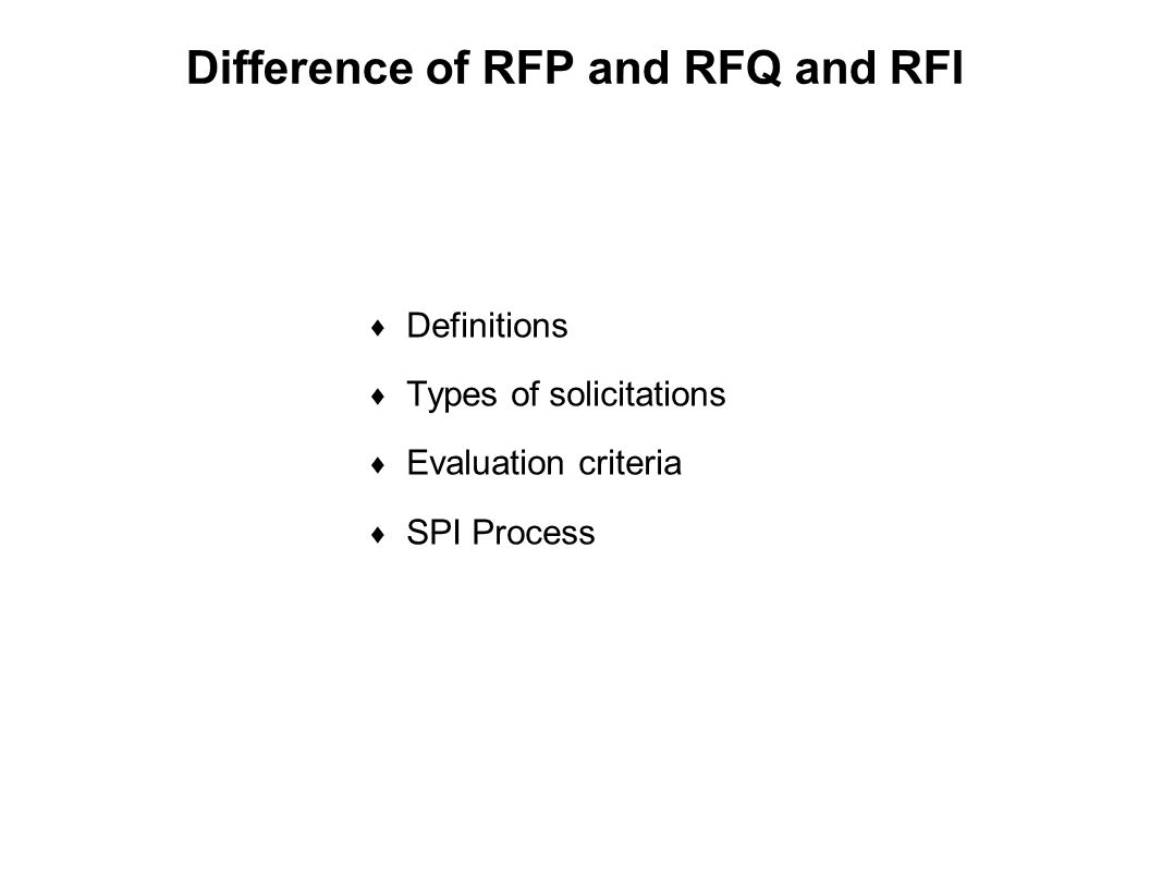 Capture Team Success Difference of RFP and RFQ and RFI  Definitions  Types of solicitations  Evaluation criteria  SPI Process