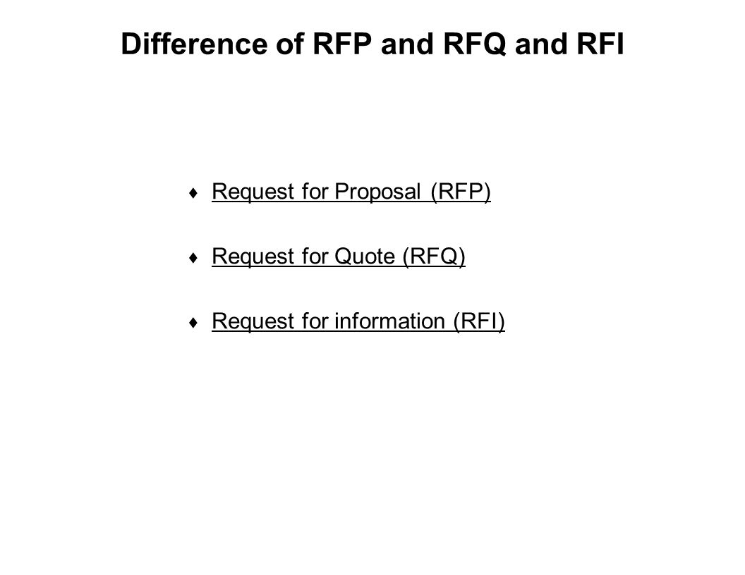 Capture Team Success Difference of RFP and RFQ and RFI  Request for Proposal (RFP)  Request for Quote (RFQ)  Request for information (RFI)