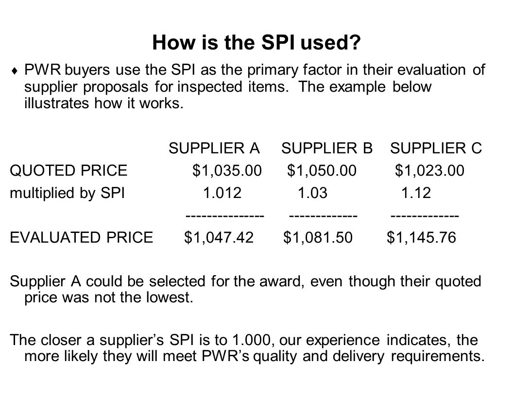 Capture Team Success How is the SPI used?  PWR buyers use the SPI as the primary factor in their evaluation of supplier proposals for inspected items