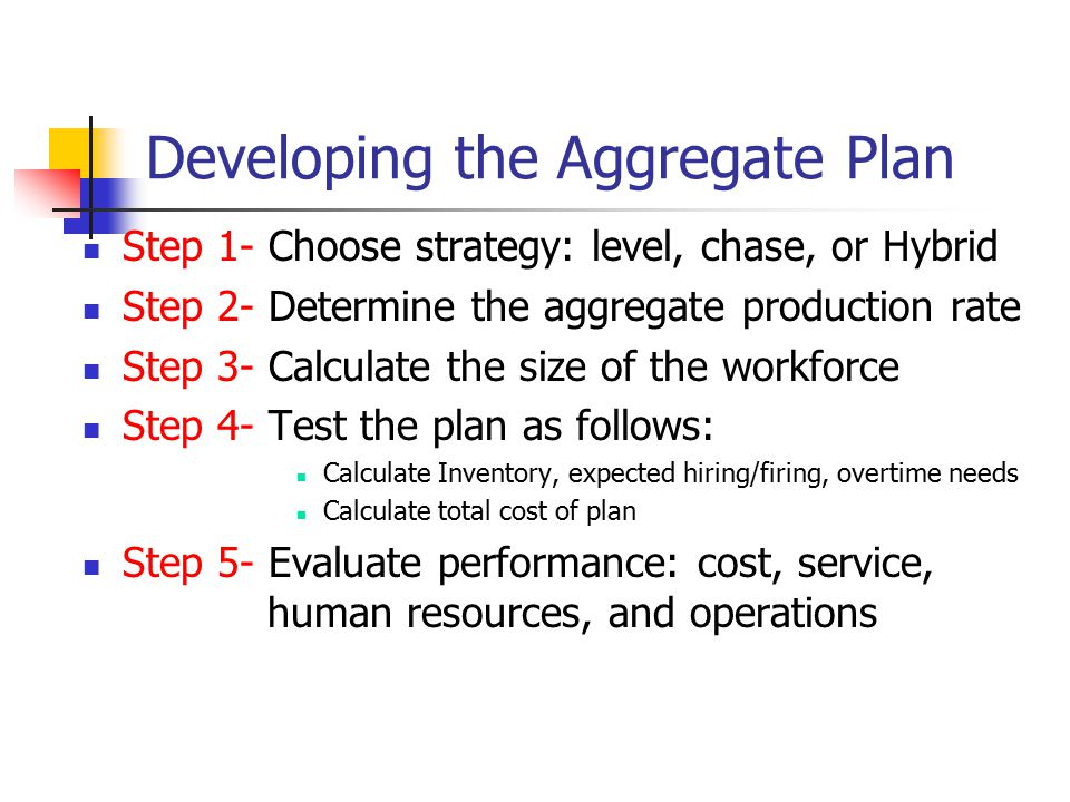 Developing the Aggregate Plan Step 1- Choose strategy: level, chase, or Hybrid Step 2- Determine the aggregate production rate Step 3- Calculate the s