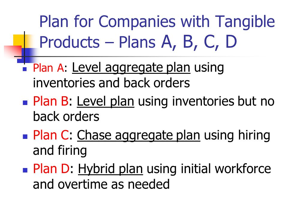 Plan for Companies with Tangible Products – Plans A, B, C, D Plan A: Level aggregate plan using inventories and back orders Plan B: Level plan using i