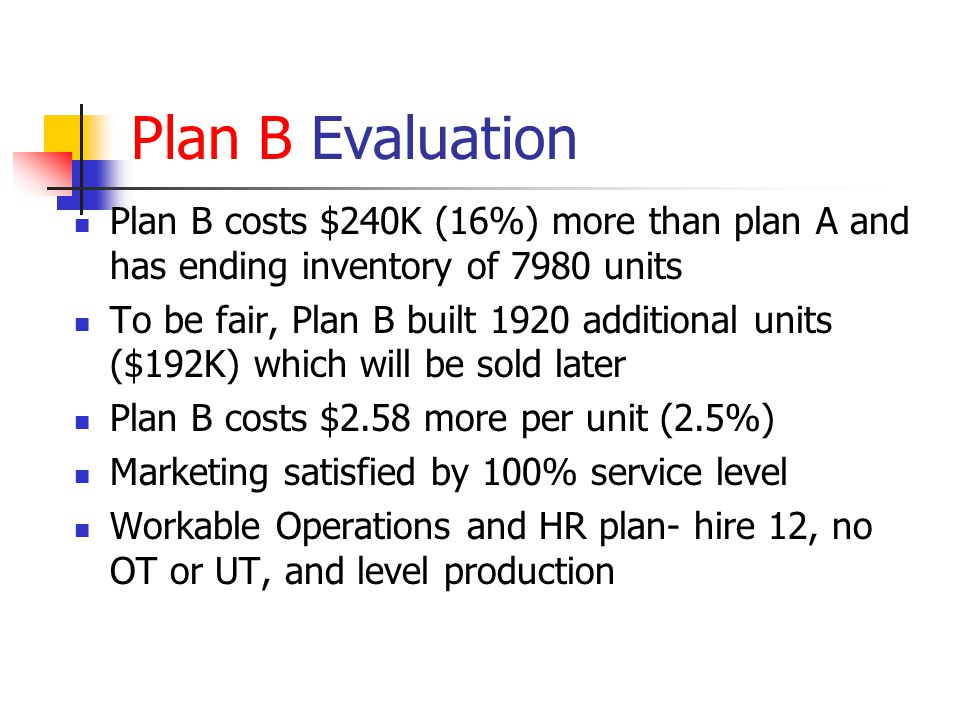Plan B Evaluation Plan B costs $240K (16%) more than plan A and has ending inventory of 7980 units To be fair, Plan B built 1920 additional units ($19