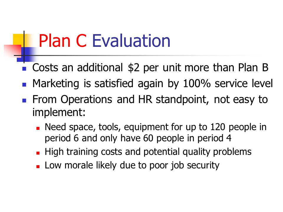Plan C Evaluation Costs an additional $2 per unit more than Plan B Marketing is satisfied again by 100% service level From Operations and HR standpoin