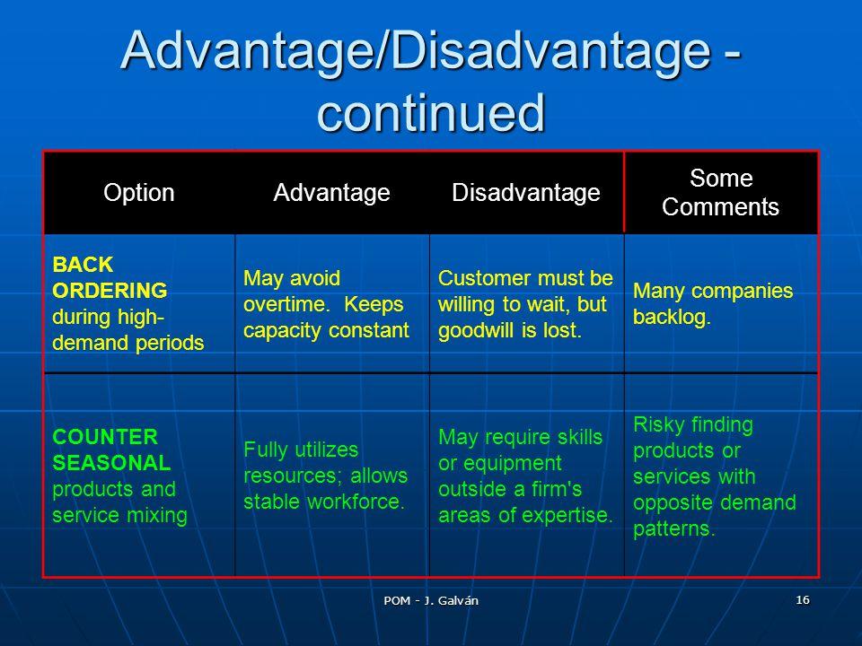 POM - J. Galván 16 Advantage/Disadvantage - continued OptionAdvantageDisadvantage Some Comments BACK ORDERING during high- demand periods May avoid ov